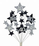 Star age 40th birthday cake topper decoration in silver and black - free postage